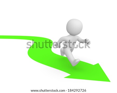 3d man running along the green arrow - stock photo