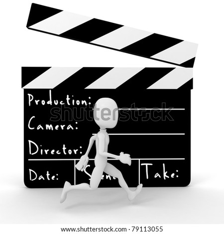 3d man running in front of a big movie clipper - stock photo