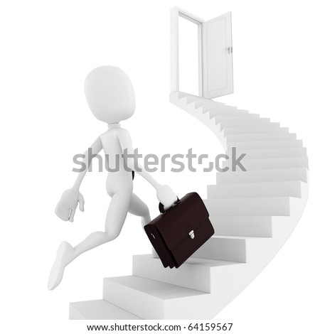 3d man running on a stair, finding the exit - stock photo