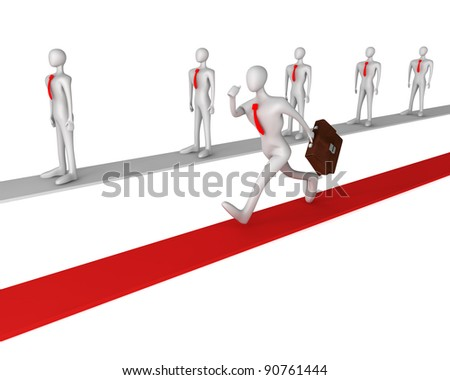 3d man running on successful way - stock photo