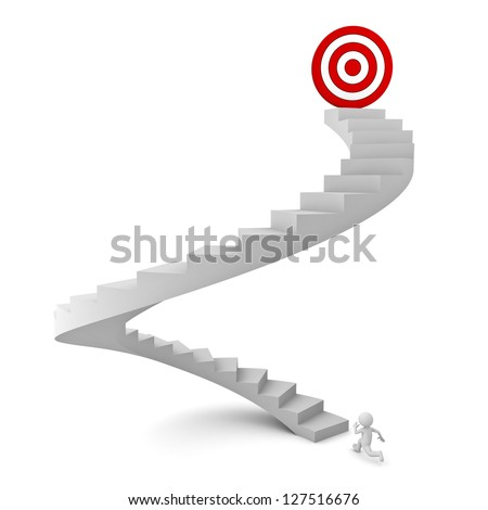 3d man running to the target on top of the stairs over white background - stock photo