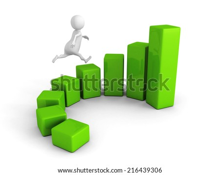 3d man running to the top of green business graph. 3d render illustration - stock photo