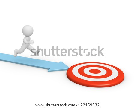 3d man running toward the target. 3d rendering. - stock photo