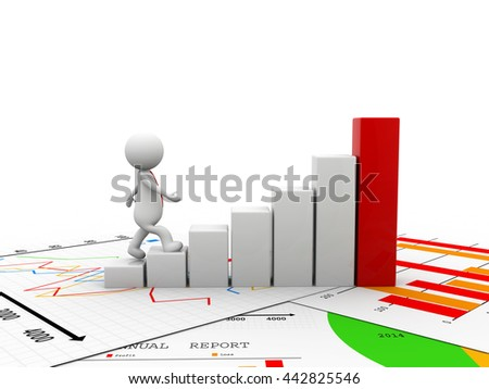 3d man running toward the top of the colorful business graph - stock photo