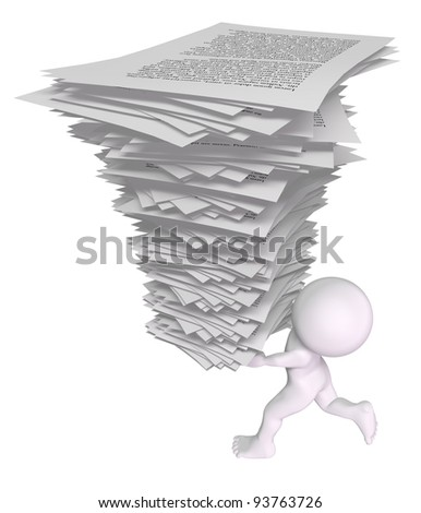3d man running with a stack of papers - stock photo
