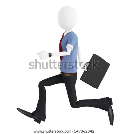 3d man running with briefcase isolated on white background