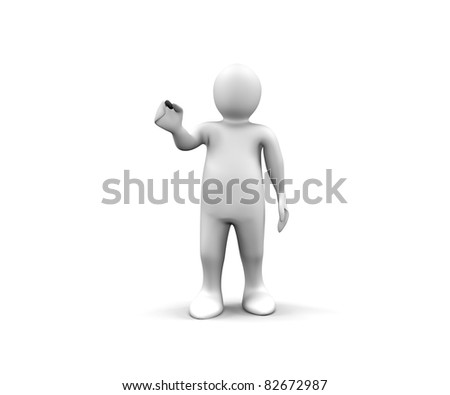 3d man showing a black stick against a white background