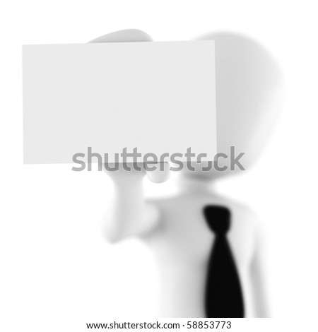 3d man showing a blank business card - stock photo