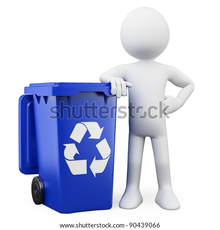 3D man showing a blue bin for recycling - stock photo