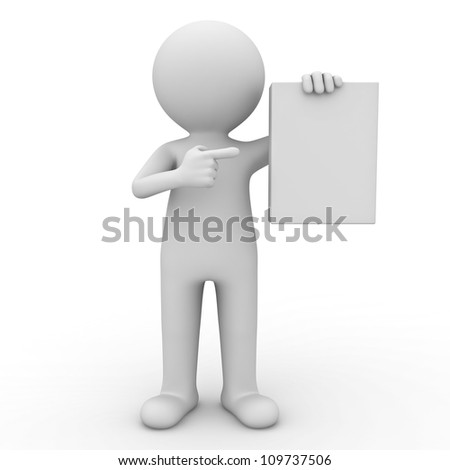 3d man showing blank box or book and pointing finger at it over white background - stock photo