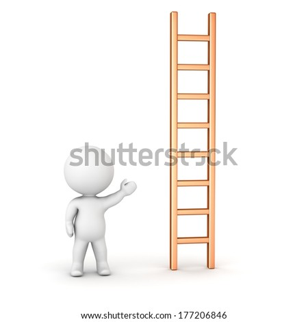 3D Man Showing Ladder