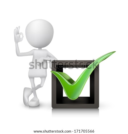 3d man showing okay hand sign with a check mark - stock photo