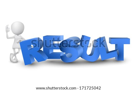 "3d man showing okay hand sign with a word ""result""  - stock photo"