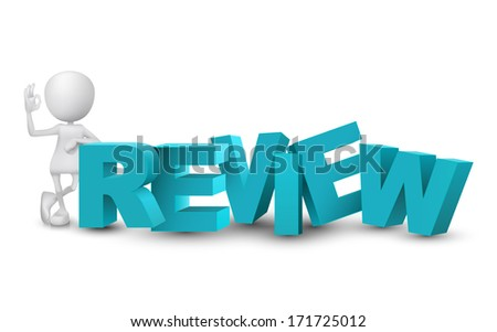 "3d man showing okay hand sign with a word ""review"" - stock photo"