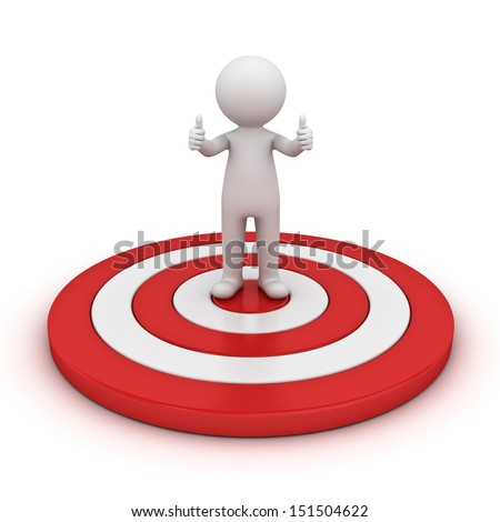 3d man showing thumb up and standing on red target isolated over white background - stock photo