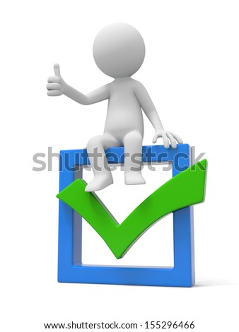 3d man showing thumb up with check mark - stock photo