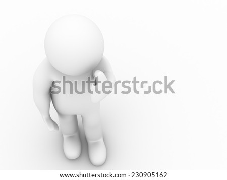 3d man showing thumbs up on white background. 3d render