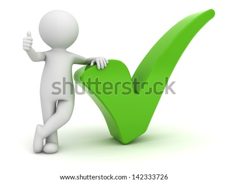 3d man showing thumbs up with green check mark isolated over white background - stock photo