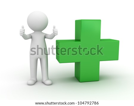 3d man showing thumbs up with green plus sign on white background - stock photo