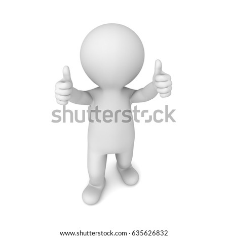 3d man showing two thumbs up isolated on white background with shadow . 3D rendering.