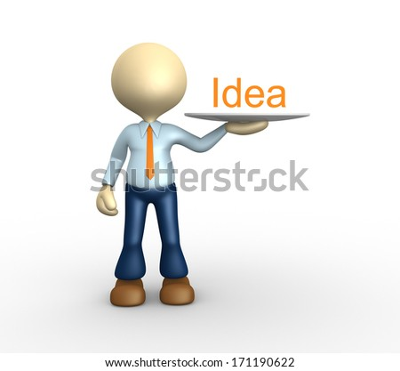 3d man showing word idea on tray. - stock photo