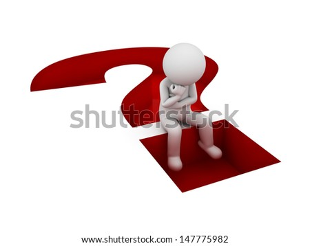 3d man sitting and thinking on red question mark hole isolated over white background - stock photo