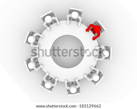 3D man sitting at a round table and having business meeting - 3d render illustration - stock photo