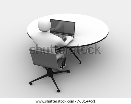 3D man sitting at the table and working on a laptop computer - stock photo