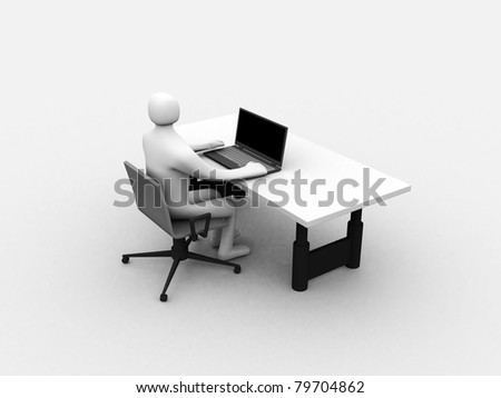 3D man sitting at the table and working on a laptop computer - 3d illustration - stock photo