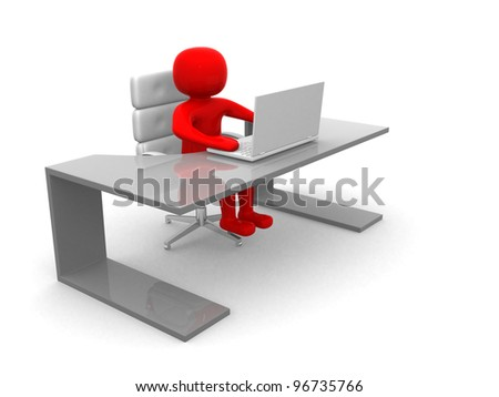 3D man sitting at the table and working on a laptop computer - 3d render - stock photo