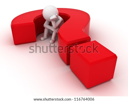 3d man sitting in red question mark over white background - stock photo