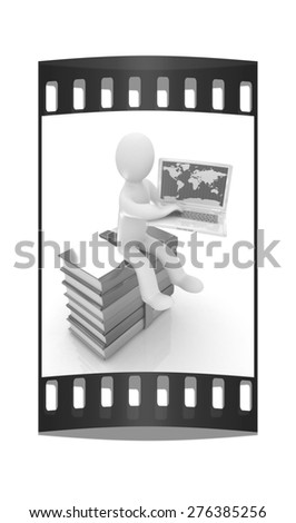 3d man sitting on books and working at his laptop on a white background. The film strip