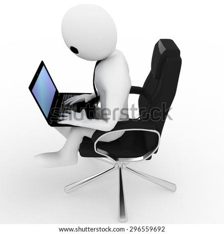 3 D Man Sitting On Office Chair Stock Illustration 296559692 ...