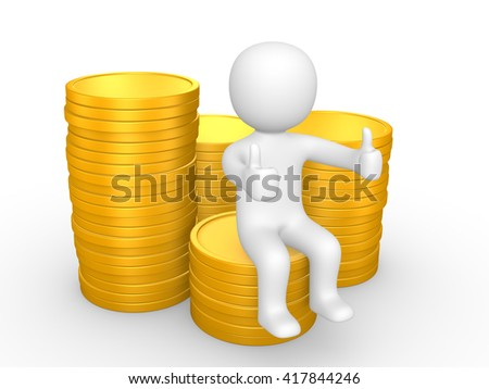 3d man sitting on pile of coins. 3d illustration.