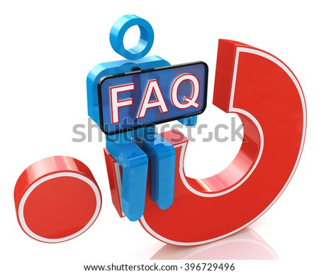 3d man sitting on red question mark holds a placard with the word faq - 3D rendered illustration - stock photo