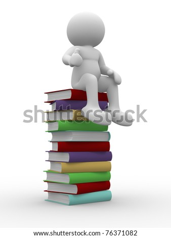 3d man sitting on stack of books - This is a 3d render illustration