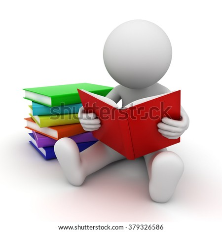 3d man sitting on the floor and reading books over white background