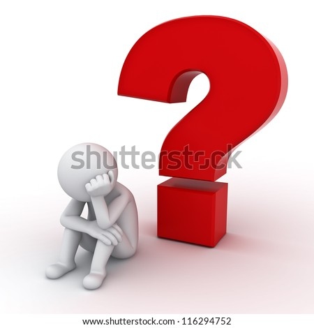 3d man sitting with red question mark over white background
