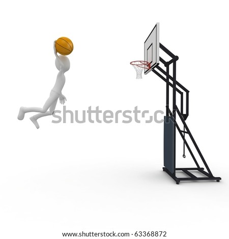 3d man slam dunk isolated on white - stock photo