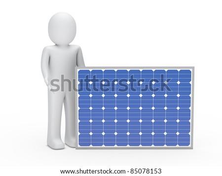 3d man solar panel blue energy human - stock photo
