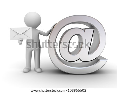 3d man standing and holding envelope with metal email sign on white background - stock photo