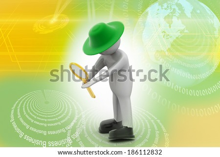 3d man standing and holding magnifying glass - stock photo