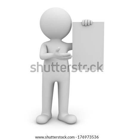 3d man standing and presenting blank sign isolated over white background - stock photo