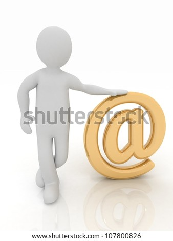 3d man standing at gold email sign on white background