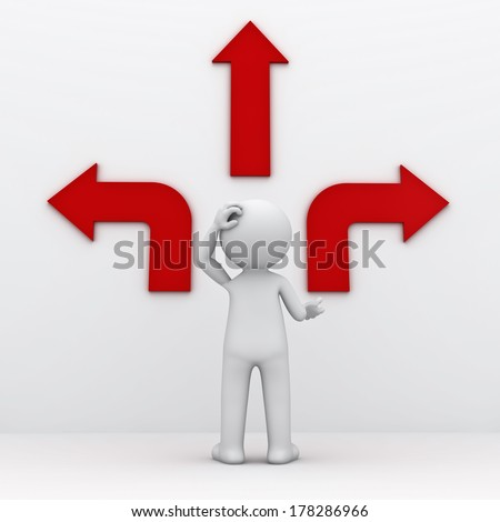 3d man standing in front of three red arrows showing three different directions wondering which way to go over white background - stock photo