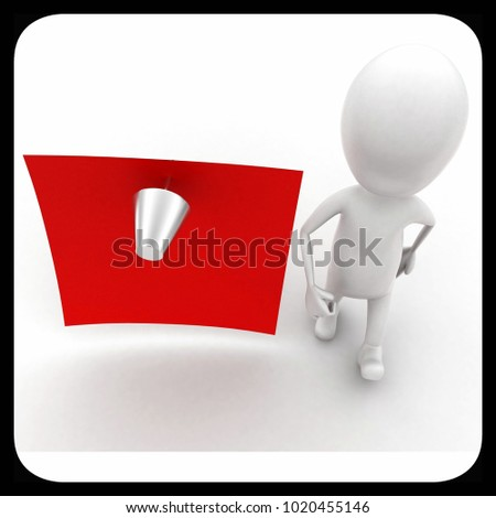 3d man standing near a note with a pin concept in white isolated background - 3d rendering ,  top angle view