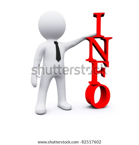 3D man standing near sign of INFO letters - stock photo