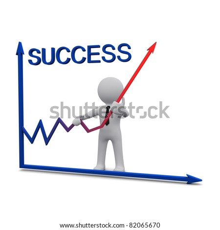 3D man standing near success graph and holding up red arrow - stock photo