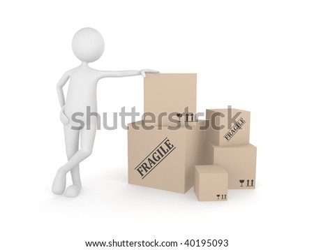 3D man standing next to the pile of cardboard boxes - stock photo