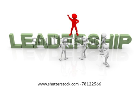 3d man standing on text 'leadership' and instructing his followers. Concept of leadership - stock photo
